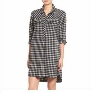 Madewell Plaid Flannel Shirt Dress Longsleeved